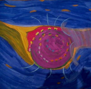 """Flowering wound"" Painted on 6/16/12 in Creative Nectar Studio, Mission, KS"