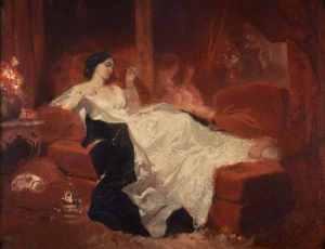 Mujer en el sofá rojo, pintura de Eugene Louis Lami