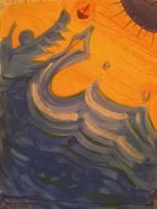 """""""Dragón de mar"""". Témpera sobre papel con la técnica de Pintura en Proceso @2013 por Samadhi Yaisha"""