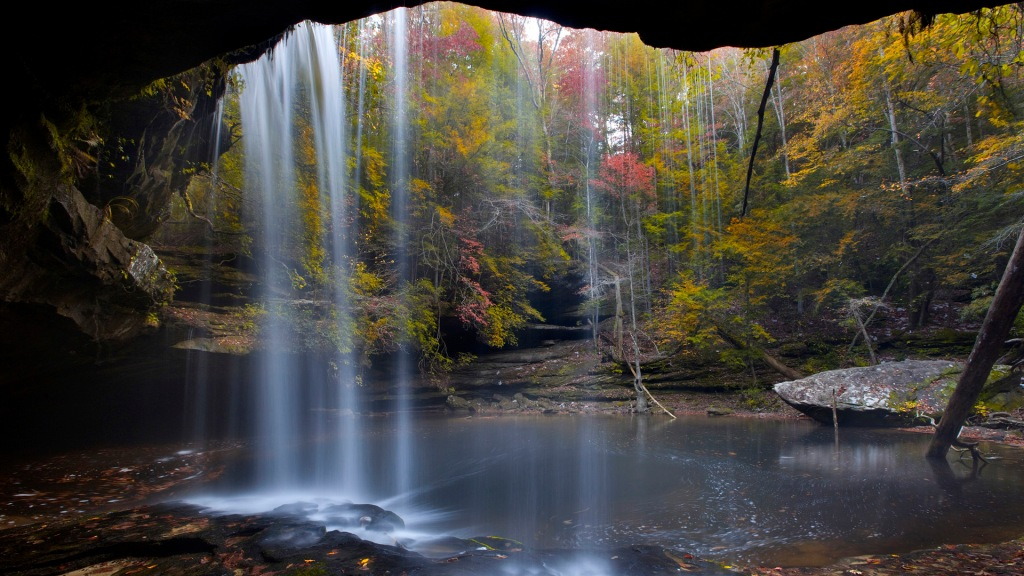 Fall colors and waterfall in the Sipsey Wilderness, Bankhead National Forest of Alaba